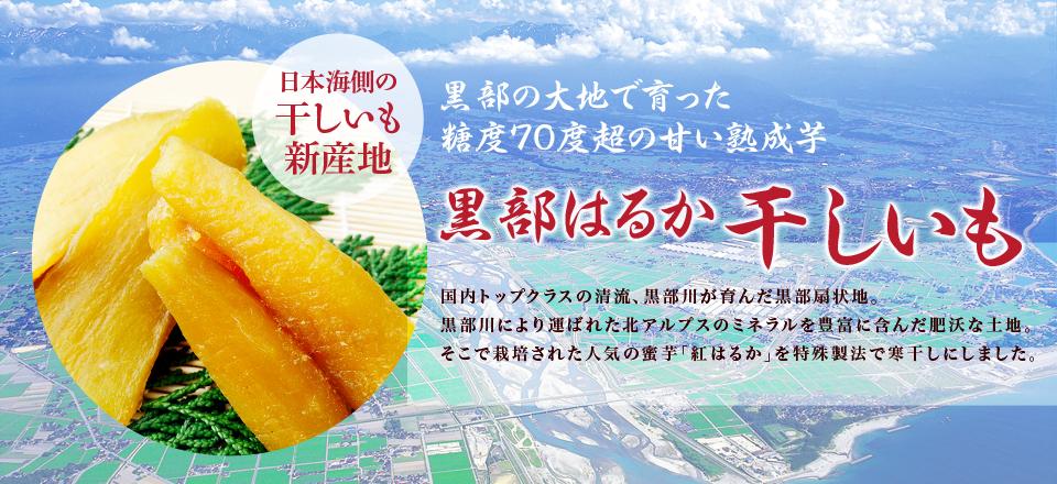 富山県の黒部の太陽や自然豊かな水で育った さつまいもを低温で熟成して甘み豊かな干しいもにしました